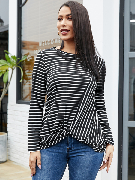 YOINS Black Stripe Twist Design Crew Neck Long Sleeves Tee