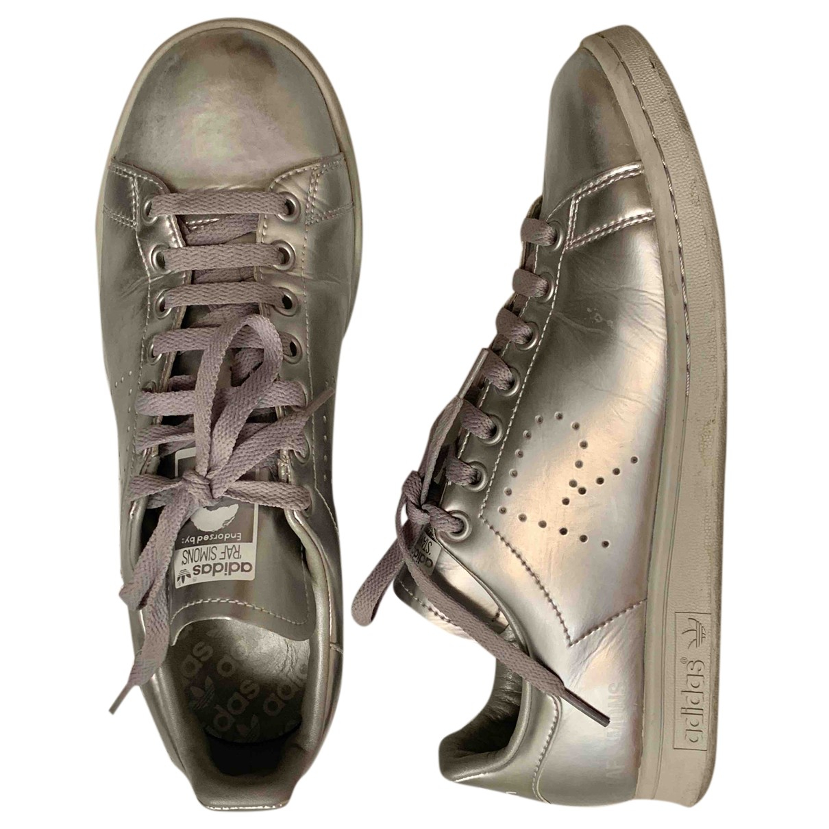 Adidas X Raf Simons Stan Smith Silver Leather Trainers for Men 42 EU