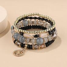 4 Stuecke Armband mit Anker Anhaenger und Perlen