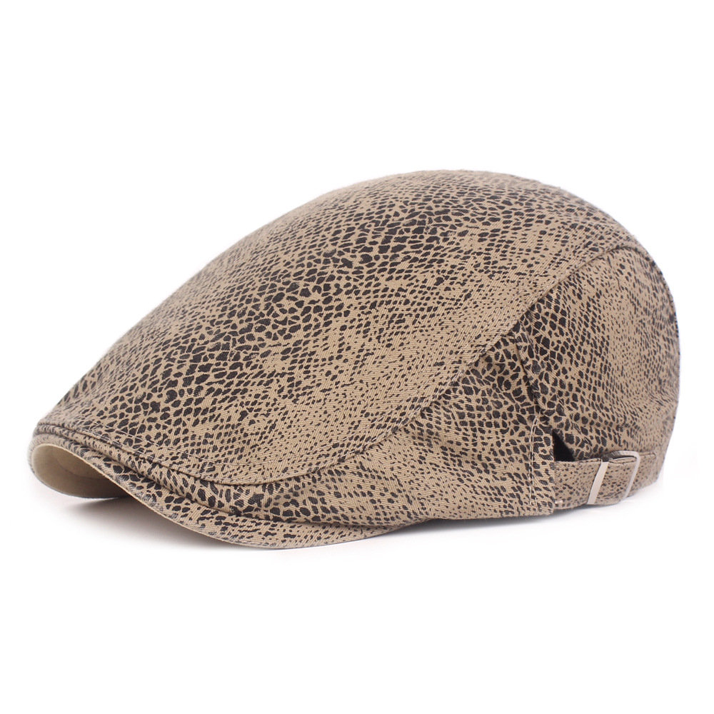 Men's Cotton Beret Cap Thin Leopard Cap Casual Visor Hat