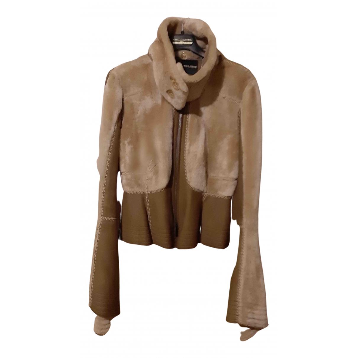 Emporio Armani - Veste   pour femme en cuir - beige