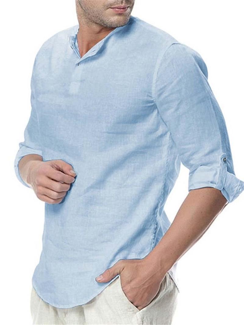 Ericdress Casual Plain Mens Slim Shirt