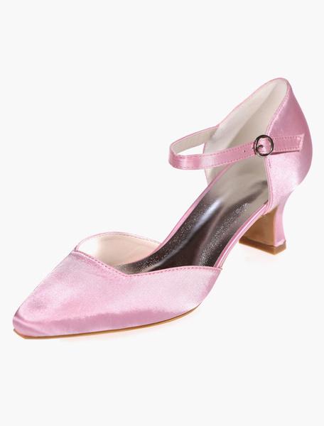 Milanoo Zapatos de novia de saten Zapatos de Fiesta Tacon bobina Zapatos blanco  Zapatos de boda de puntera cuadrada 5.5cm