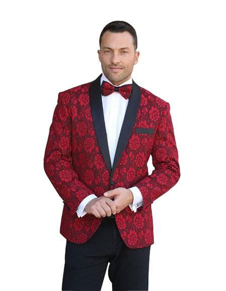 Mens Floral Pattern Paisley Sport Coat Blazer Dinner Jacket Red Blazer
