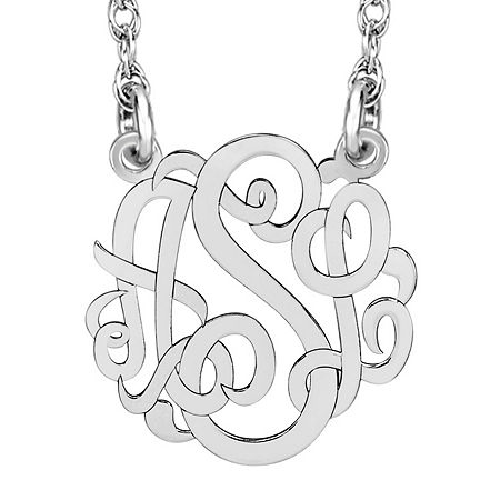 Personalized 10mm Script Monogram Necklace, One Size , White