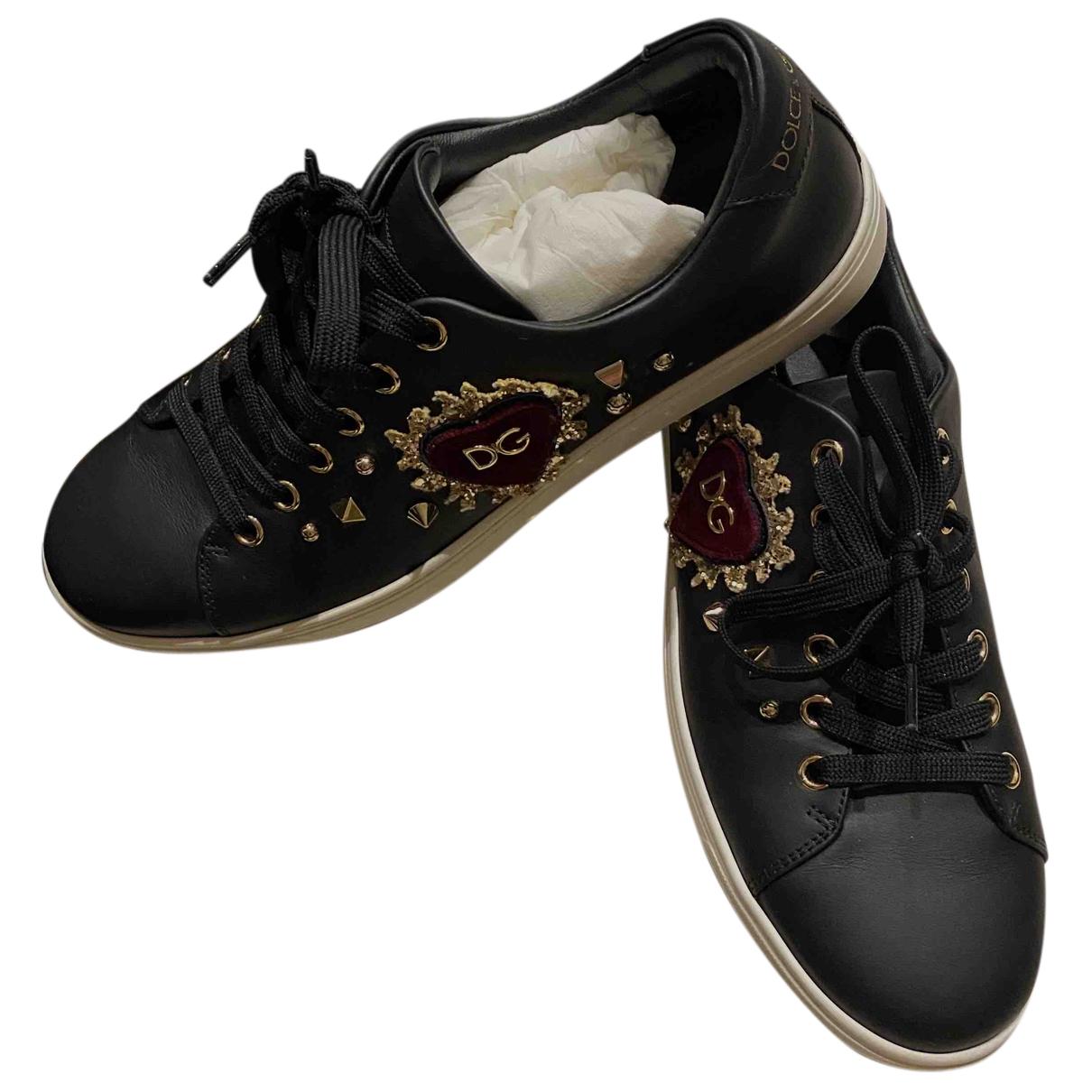 Dolce & Gabbana N Black Leather Trainers for Women 38 EU