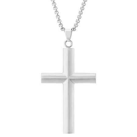 Mens Stainless Steel Cross Pendant Necklace, One Size , No Color Family