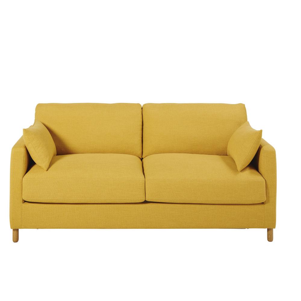 3-Sitzer-Schlafsofa senfgelb, Matratze 10 cm Julian