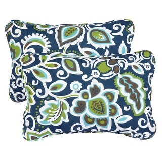 Floral Navy Corded 13 x 20 inch Indoor/ Outdoor Throw Pillows (Set of 2) (13 in x 20 in)
