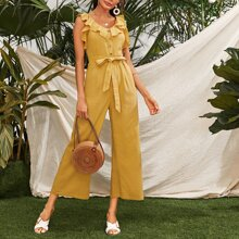 Ruffle Trim Button Front Self Belted Jumpsuit