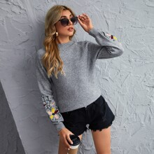 Floral Embroidery Raglan Sleeve Sweater