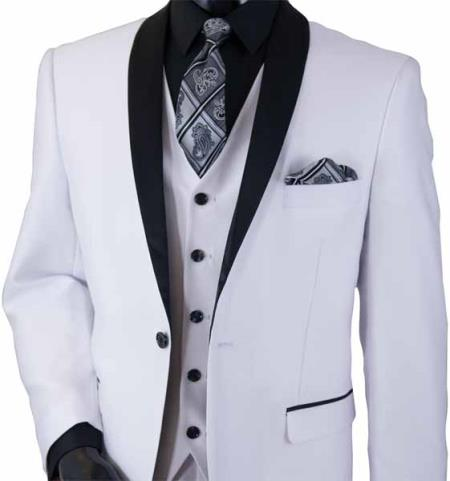 White 3Piece Shawl Lapel 2 Toned Sharkskin Black Lapel Vested Suit