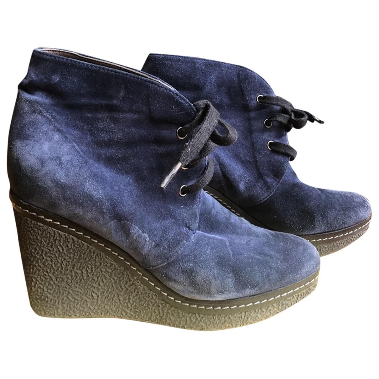 Castaner - Boots   pour femme en suede - bleu