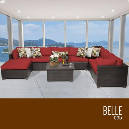 BELLE-09b-TERRACOTTA Belle 9 Piece Outdoor Wicker Patio Furniture Set 09b with 2 Covers: Wheat and