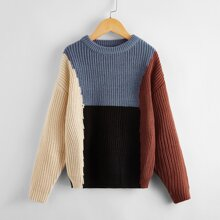 Boys Ribbed Knit Colorblock Sweater