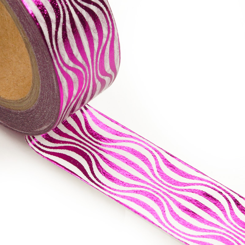 9/16 X 10 Yards Colored Hot Pink Wavy Pattern Washi Tape by Ribbons.com