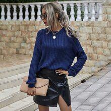 Drop Shoulder Rib Knit Sweater