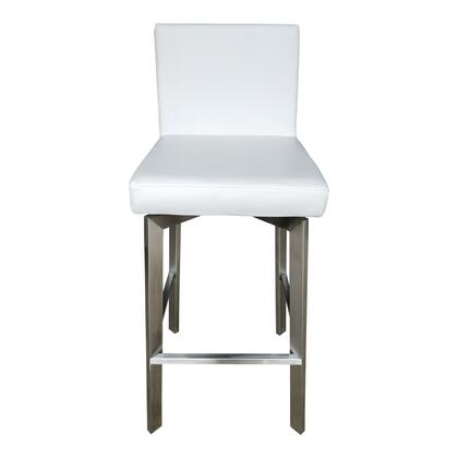 Giro Collection EH-1038-18 Bar Stool with Stainless Steel Legs in White