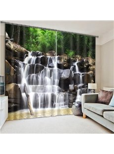 3D Spectacular Waterfall and Green Trees Natural Scenery Printed Decoration Custom Living Room Curtain