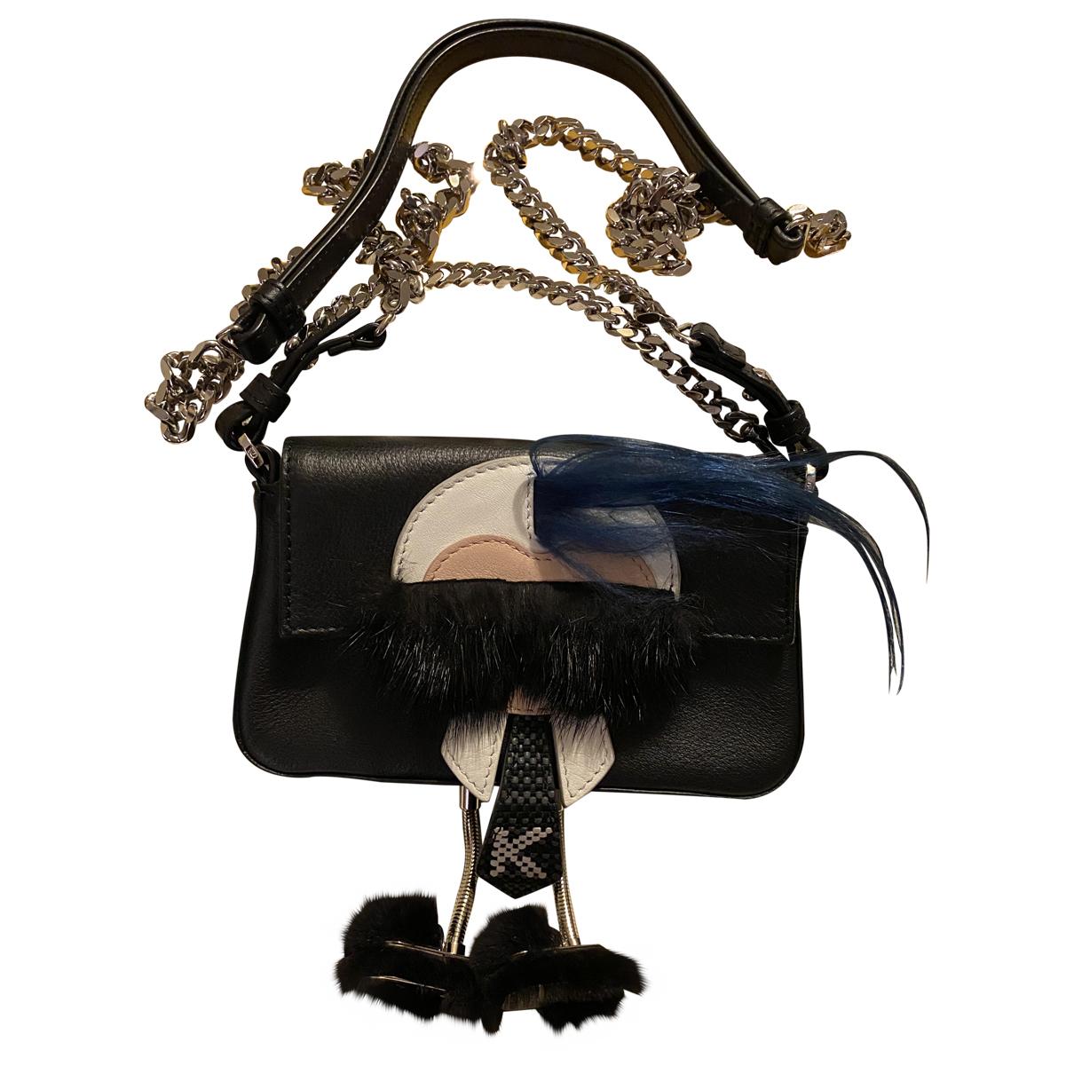 Fendi Baguette Black Leather Clutch bag for Women N