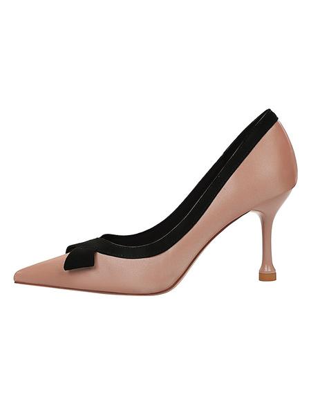 Milanoo Women High Heels Slip-On Pointed Toe Stiletto Heel Bows Black Satin Pumps