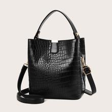 Minimalist Croc Embossed Satchel Bag