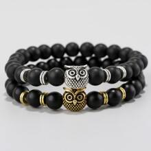 2 Stuecke Armband mit Eule Dekor und Perlen