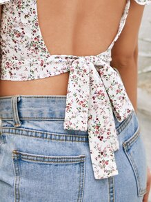Backless Knotted Ditsy Floral Print Top