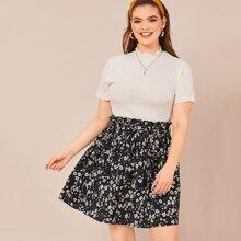 Plus Mock Neck Rib-knit Top & Paperbag Waist Belted Skirt Set