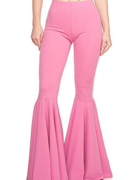 Milanoo Pantalones acampanados Pantalones de pierna acampanada rosa para mujer