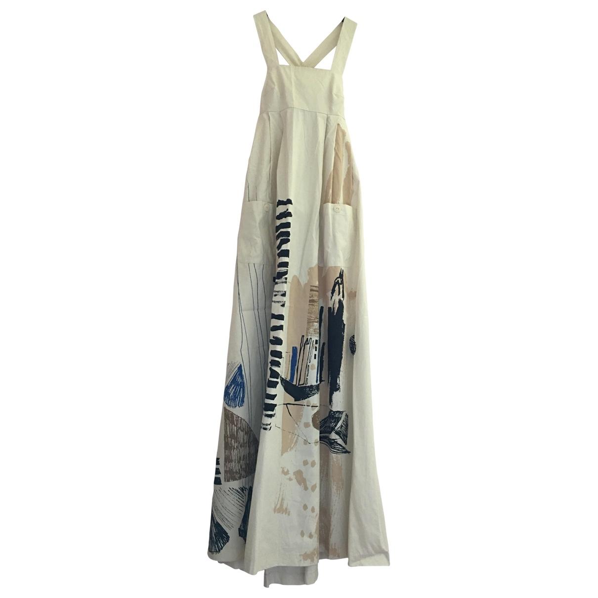 H&m Studio \N Kleid in  Beige Baumwolle