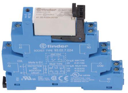 Finder , 24V dc DPDT Interface Relay Module, Screw Terminal , DIN Rail
