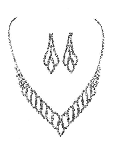 Milanoo Wedding Jewelry Set Silver Rhinestones Bridal Necklace With Earrings
