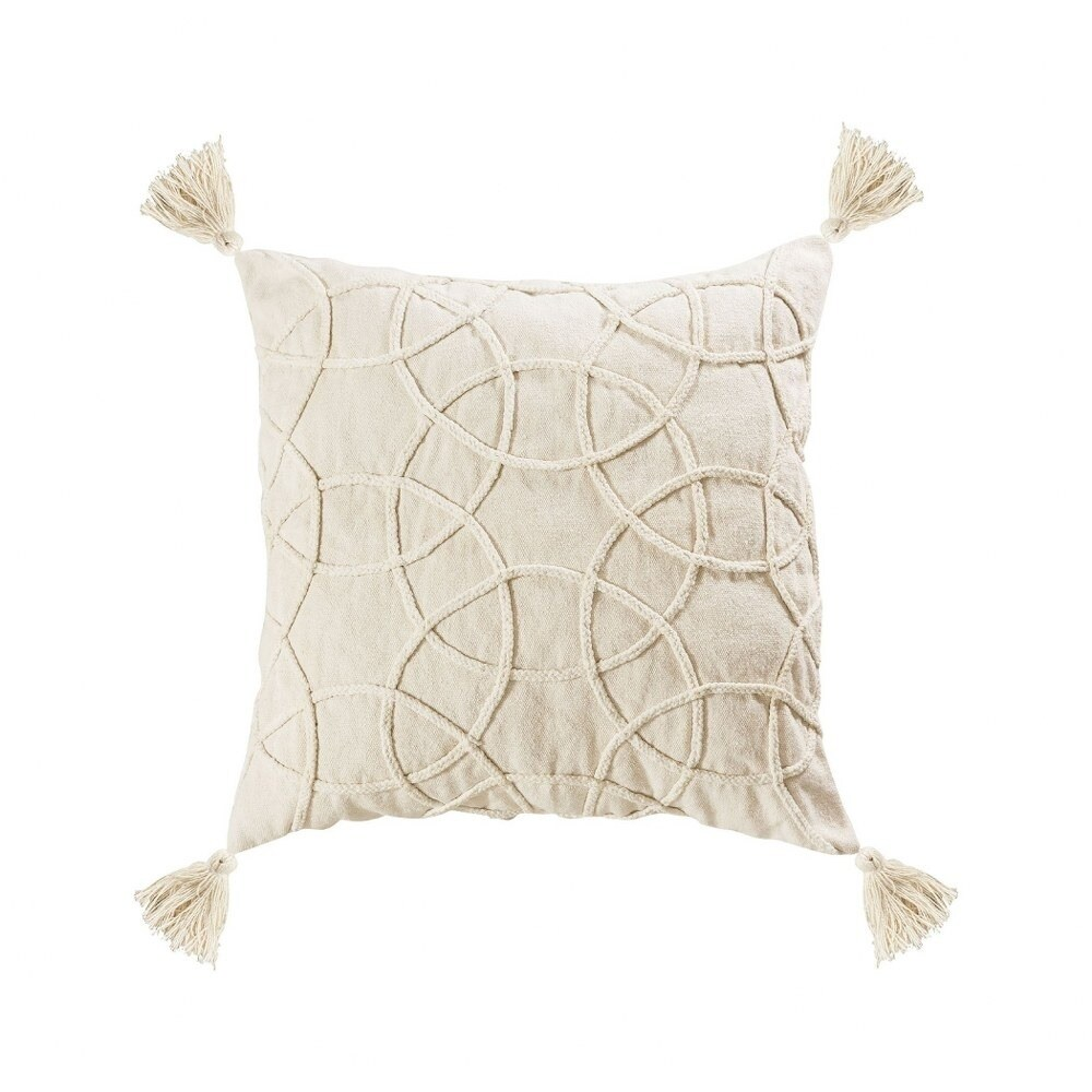 Cream Swirl Style Pillow with Tassles 24x24-inch Pillow Cover Only White Colors  White Finish (Cover Only - White - Pillow Covers)