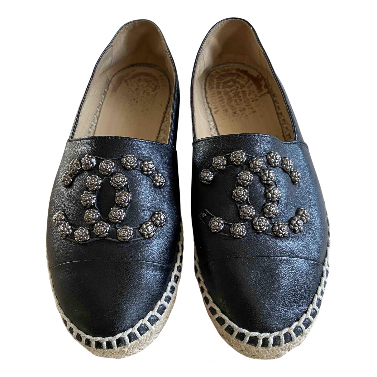 Chanel - Espadrilles   pour femme en cuir - noir