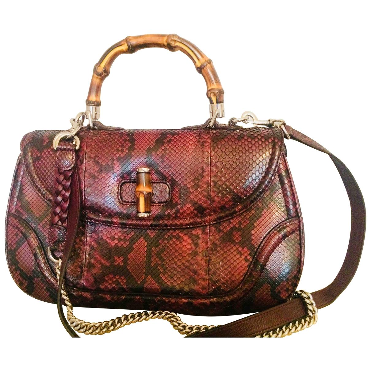 Gucci Bamboo Handtasche in  Bordeauxrot Python