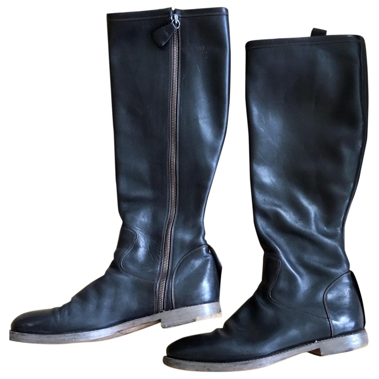 Fausto Santini \N Black Leather Boots for Women 40 EU