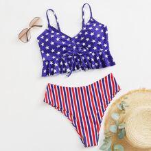 Bañador bikini bajo con fruncido con estampado de estrella y rayas