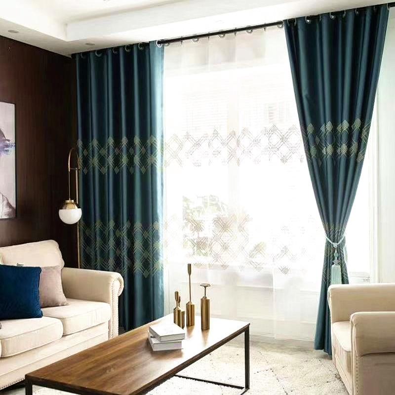 Modern Simple Elegant Teal Turquoise Custom Semi Sheer Curtains