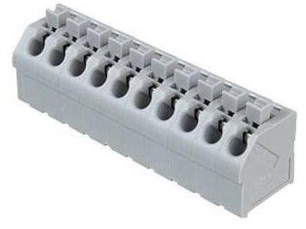 Wago 250 Series, Female 10 Pole 10 Way PCB Terminal Strip, PCB Mount, Rated At 10 (CSA) A, 17.5 (IEC/EN 60664-1) A, 2, Grey (5)