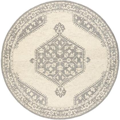 Granada GND-2307 8' Round Traditional Rug in Medium Gray  Beige