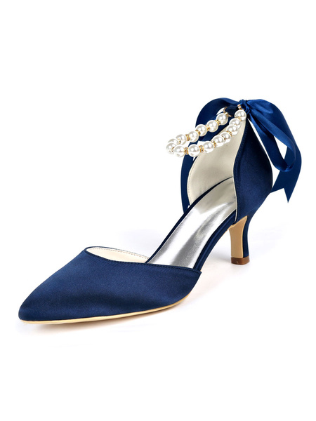 Milanoo Womens Wedding Shoes Satin Pearls Pointed Toe Kitten Heel Bridal Shoes