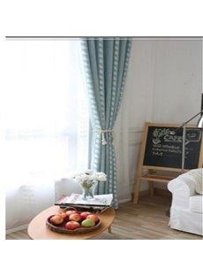 Elegant and Modern Light Blue and Vine Pattern 2 Panels Living Room Sheer Curtain