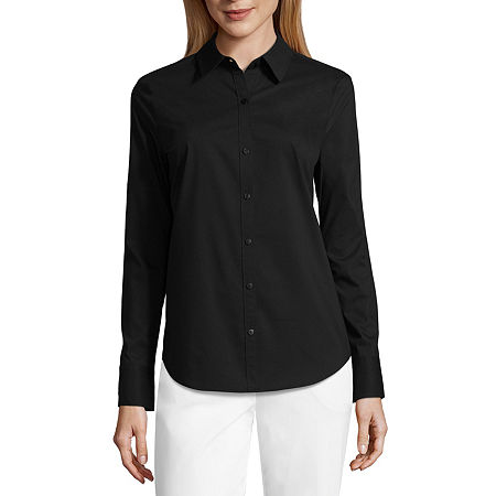 Worthington Long Sleeve Essential Shirt - Tall, Xx-large Tall , Black