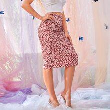 Slit Hem Heart Print Skirt