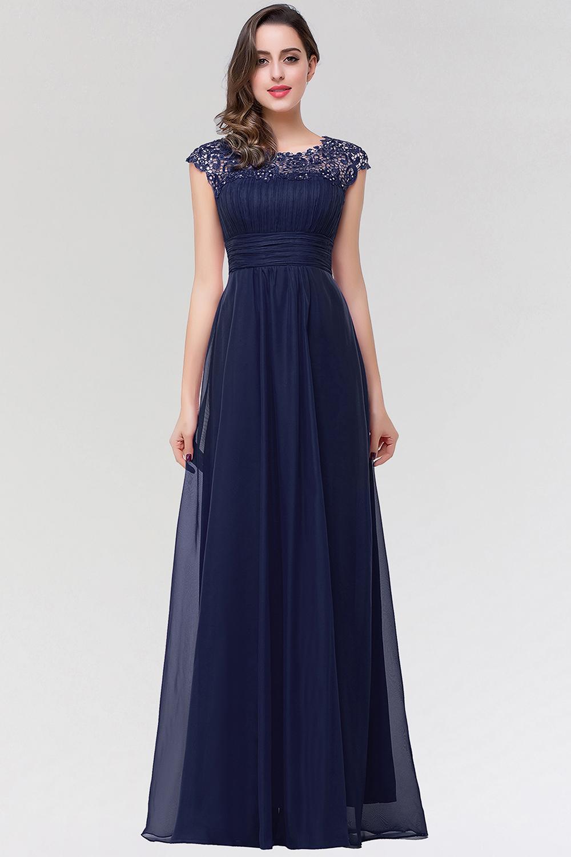 BMbridal Elegant Chiffon Pleated Navy Lace Bridesmaid Dress with Keyhole Back