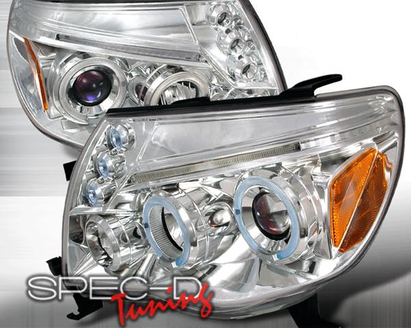 SpecD Chrome Halo LED Projector Headlights Toyota Tacoma 05-10
