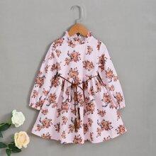 Toddler Girls Mock Neck Floral Print Belted Dress