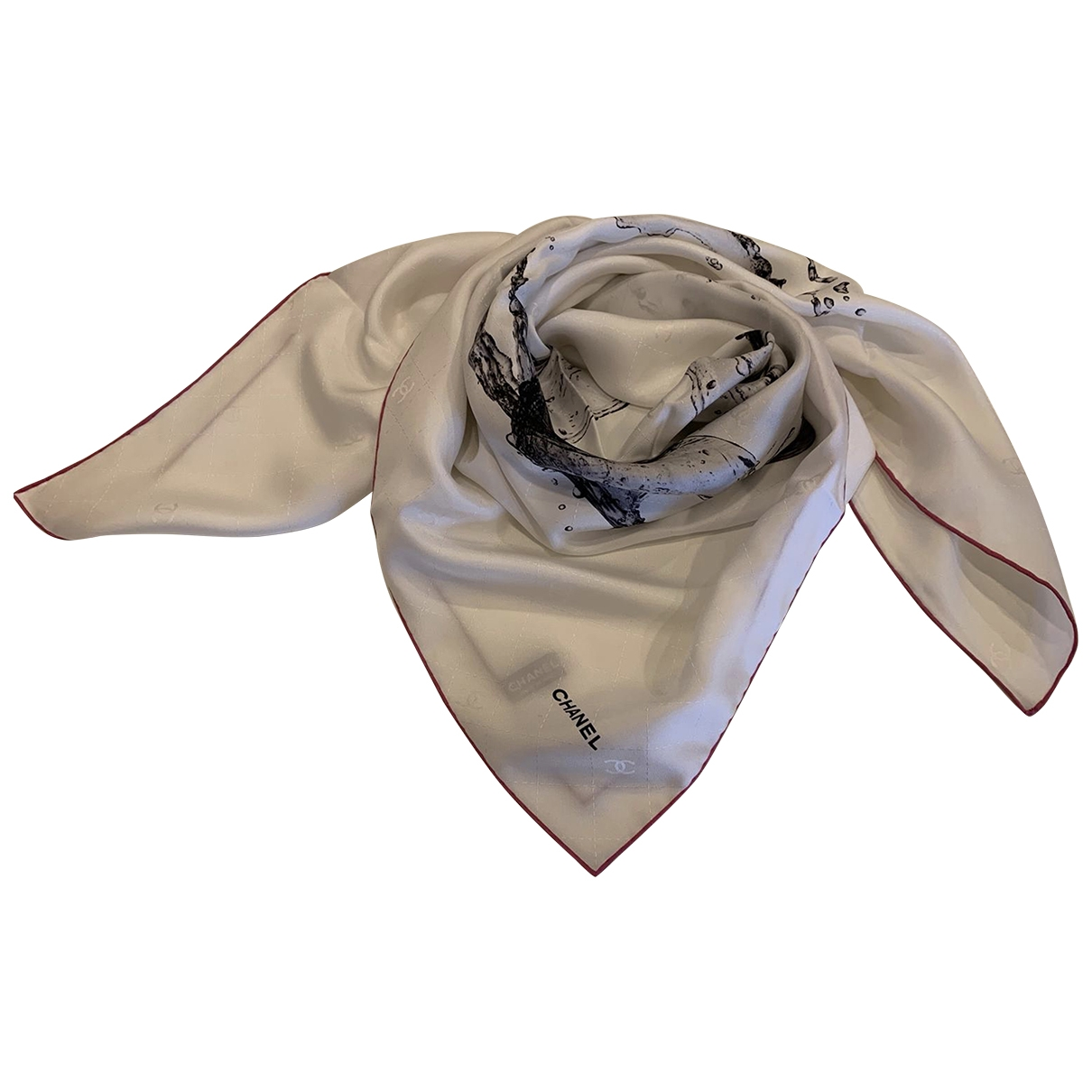 Chanel \N White Silk Silk handkerchief for Women \N