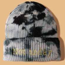 Letter Embroidered Tie Dye Beanie